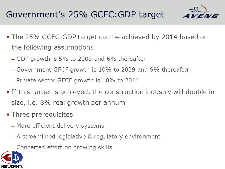 Government's 25% GCFC:GDP target The 25% GCFC:GDP target can be achieved by 2014 based on the following assumptions: – GDP growth is 5% to 2009 and 6%