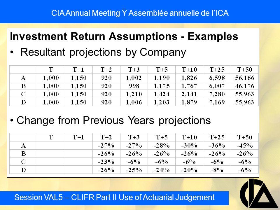 Session VAL5 – CLIFR Part II Use of Actuarial Judgement CIA Annual Meeting Ÿ Assemblée annuelle de l'ICA Investment Return Assumptions - Examples Resu