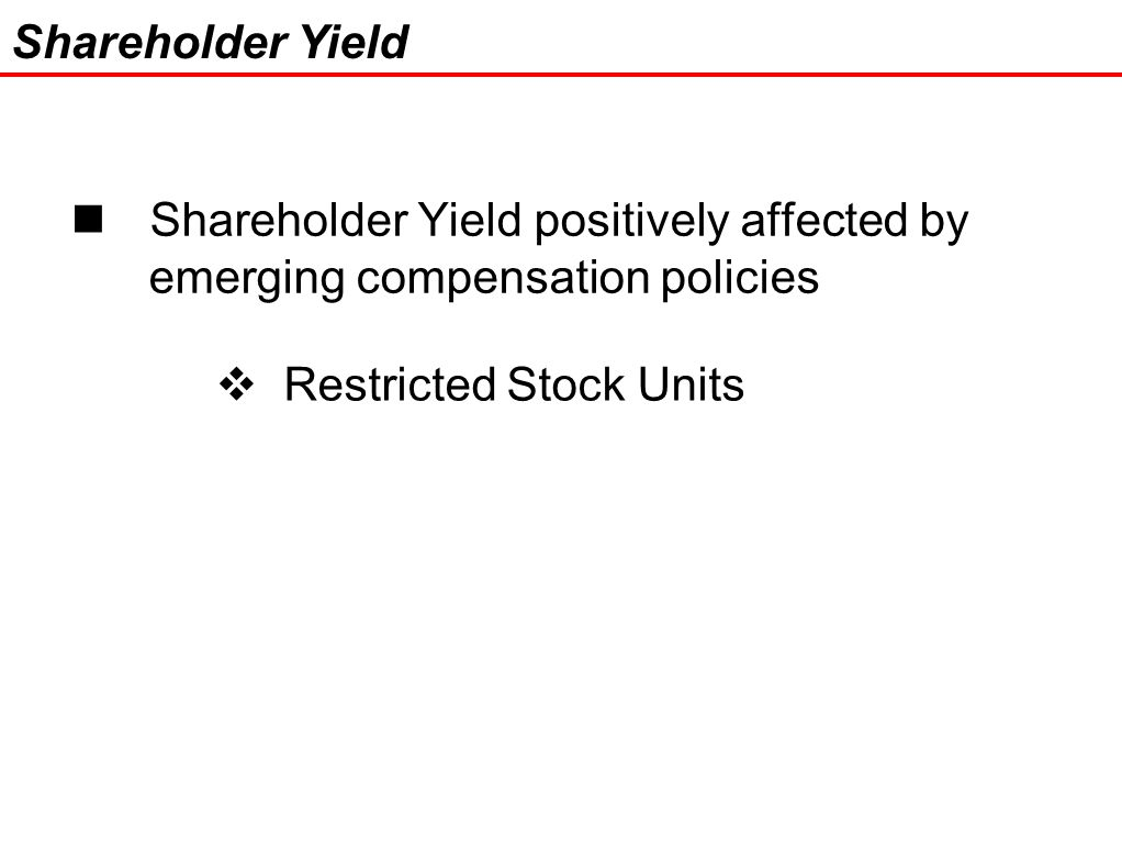 24 Shareholder Yield positively affected by emerging compensation policies Shareholder Yield  Restricted Stock Units