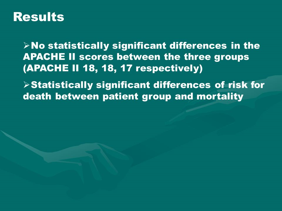 Results  No statistically significant differences in the APACHE II scores between the three groups (APACHE II 18, 18, 17 respectively)  Statisticall