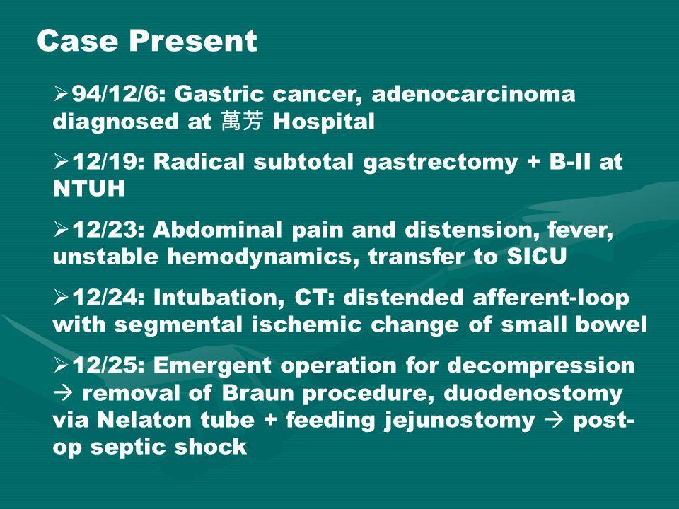 Case Present  94/12/6: Gastric cancer, adenocarcinoma diagnosed at 萬芳 Hospital  12/19: Radical subtotal gastrectomy + B-II at NTUH  12/23: Abdomina