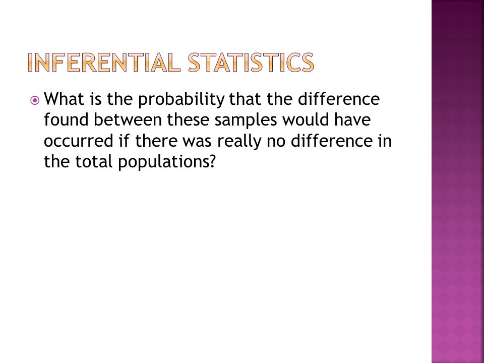  What is the probability that the difference found between these samples would have occurred if there was really no difference in the total populations
