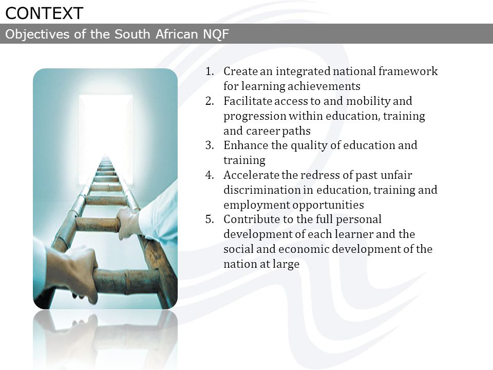 Providers Ministry of Higher Education and Training National Skills Authority Sector Education and Training Authorities Learners Statutory and non- statutory professional bodies SAQA Quality Council for Trades and Occupations (QCTO) Council on Higher Education (CHE) Ministry of Basic Education NQF Forum General and Further Education and Training Quality Council (Umalusi) Governance of the South African NQF CONTEXT
