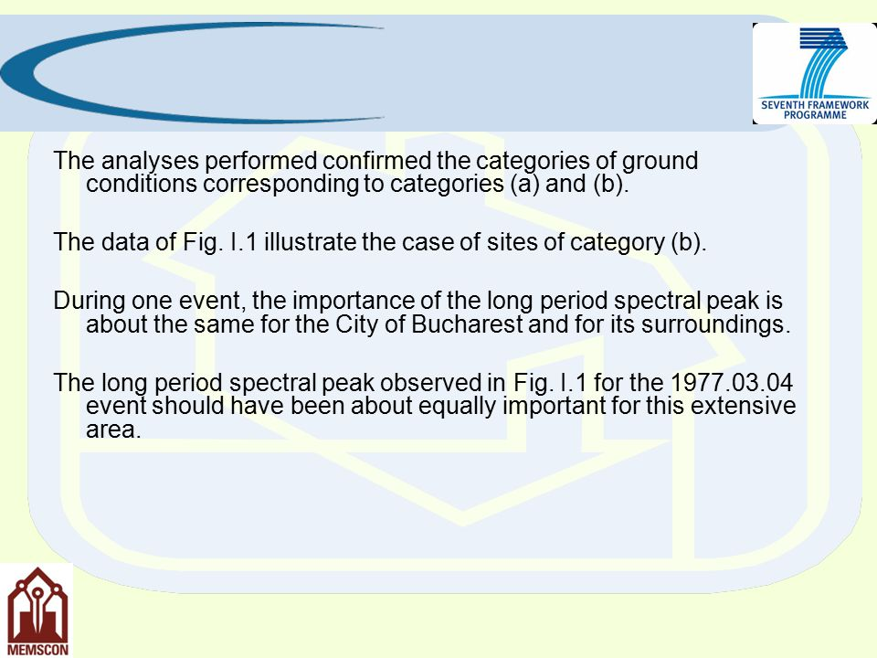 The analyses performed confirmed the categories of ground conditions corresponding to categories (a) and (b).