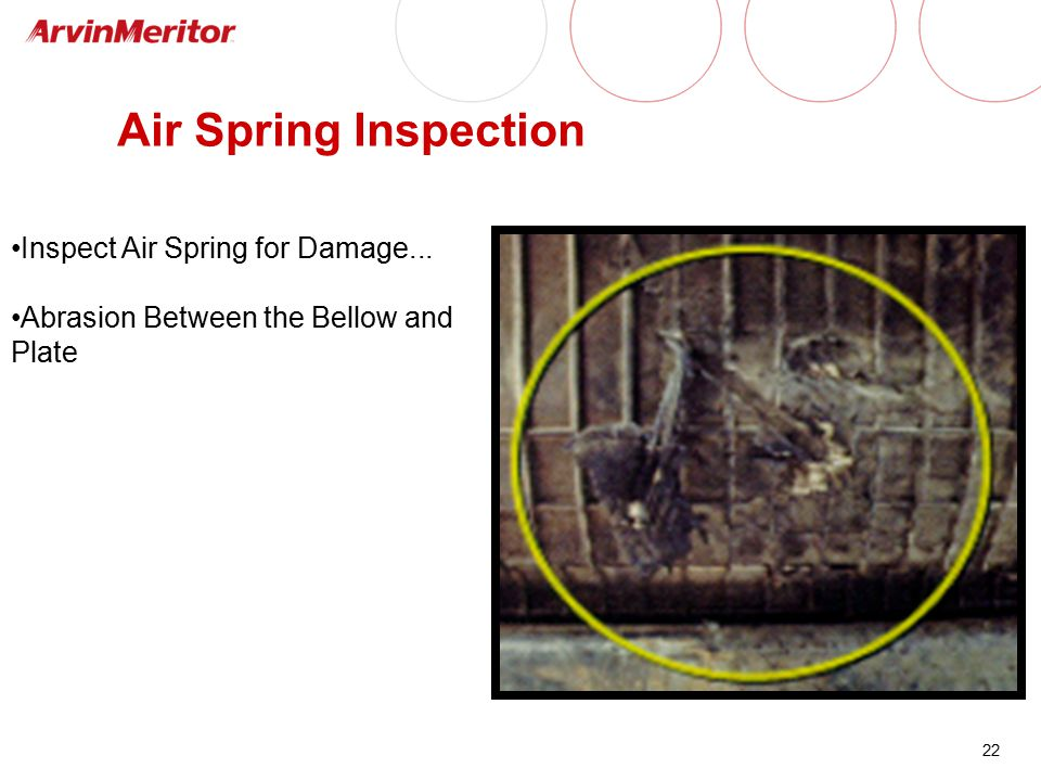 22 Air Spring Inspection Inspect Air Spring for Damage... Abrasion Between the Bellow and Plate