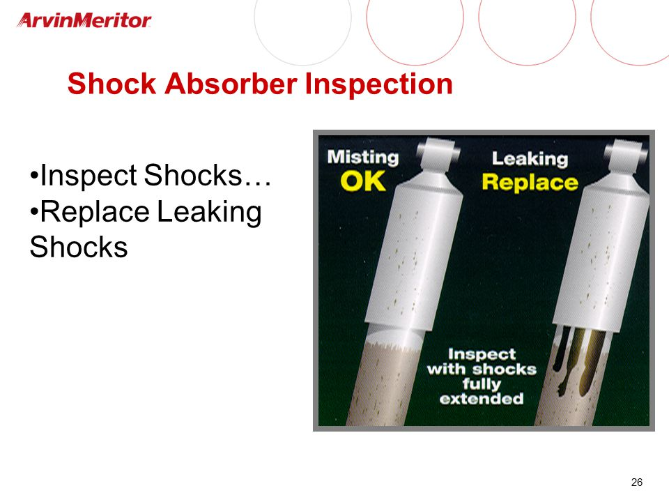 26 Shock Absorber Inspection Inspect Shocks… Replace Leaking Shocks