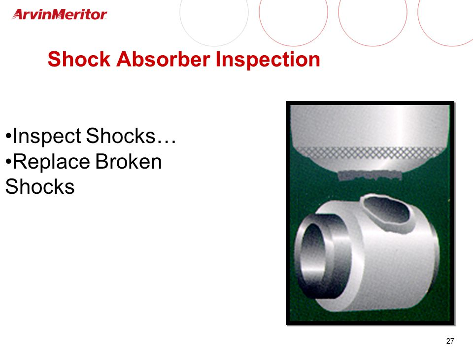 27 Shock Absorber Inspection Inspect Shocks… Replace Broken Shocks