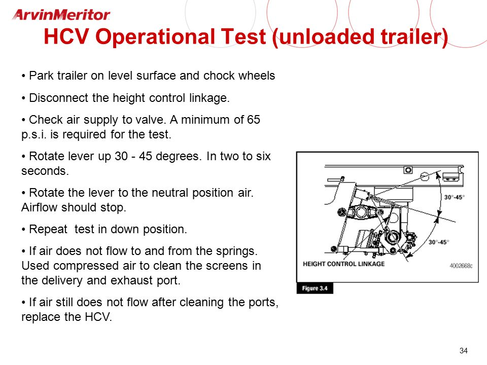 34 HCV Operational Test (unloaded trailer) Park trailer on level surface and chock wheels Disconnect the height control linkage. Check air supply to v