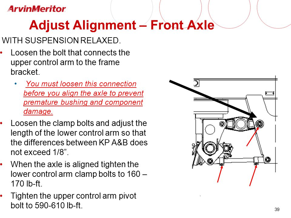 39 Adjust Alignment – Front Axle WITH SUSPENSION RELAXED. Loosen the bolt that connects the upper control arm to the frame bracket. You must loosen th