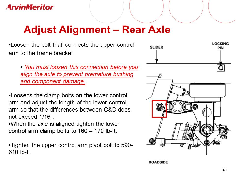 40 Adjust Alignment – Rear Axle Loosen the bolt that connects the upper control arm to the frame bracket. You must loosen this connection before you a