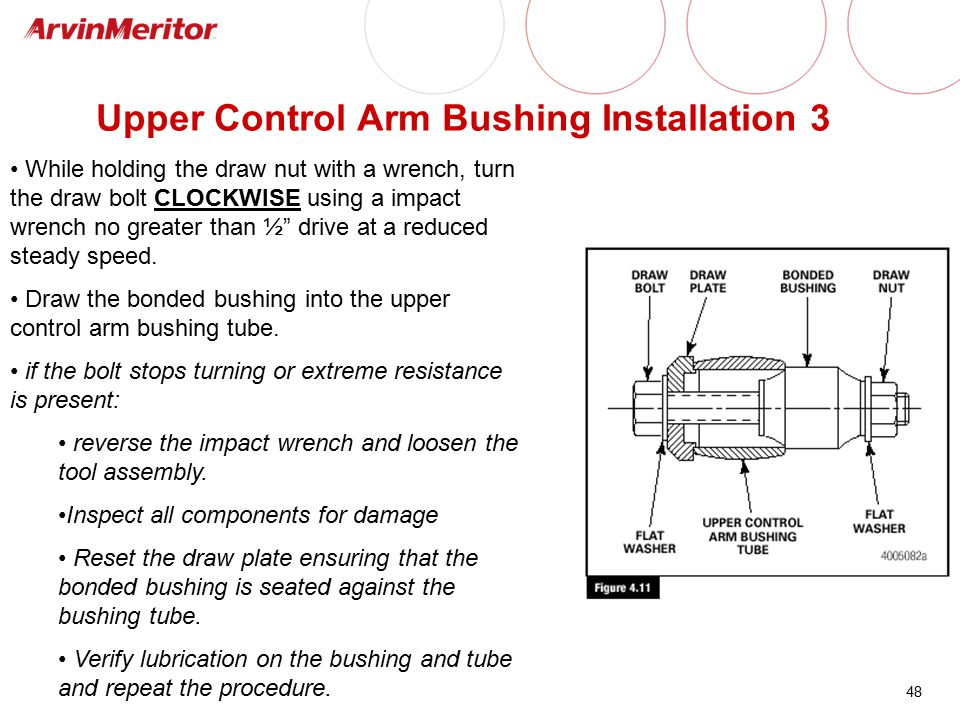 48 Upper Control Arm Bushing Installation 3 While holding the draw nut with a wrench, turn the draw bolt CLOCKWISE using a impact wrench no greater th