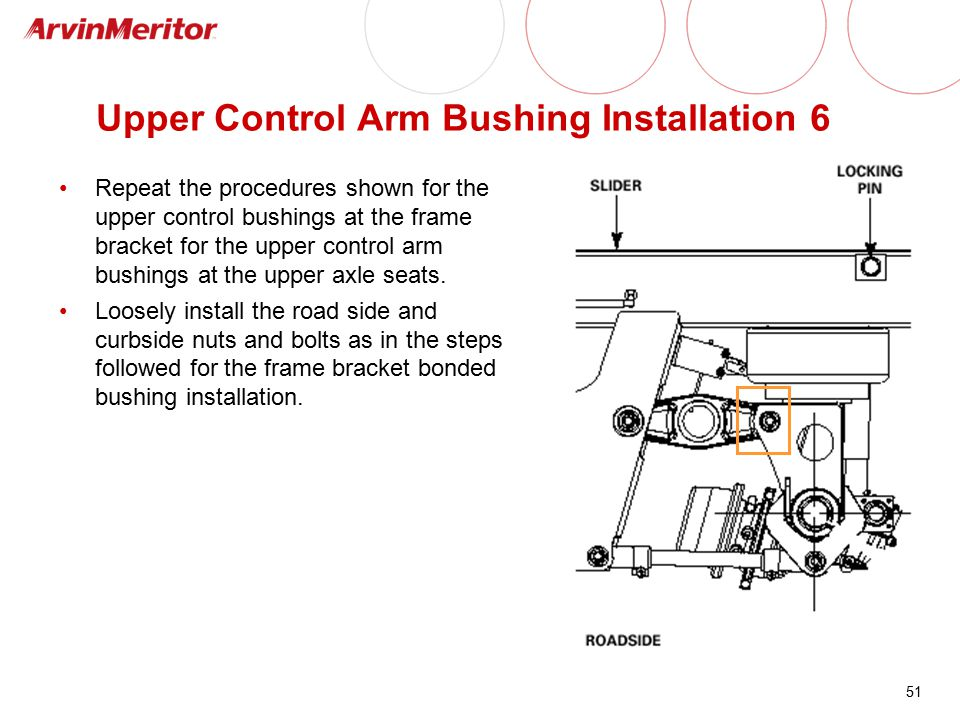 51 Upper Control Arm Bushing Installation 6 Repeat the procedures shown for the upper control bushings at the frame bracket for the upper control arm