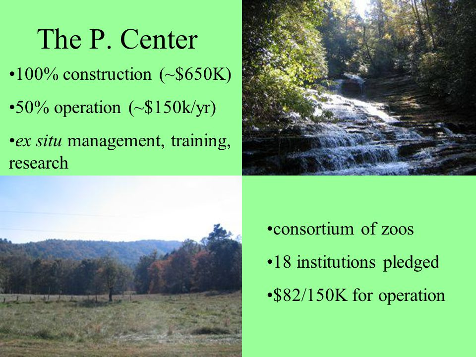 The P. Center consortium of zoos 18 institutions pledged $82/150K for operation 100% construction (~$650K) 50% operation (~$150k/yr) ex situ managemen
