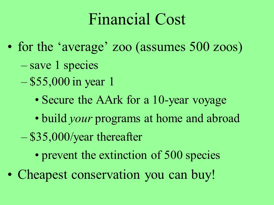 Financial Cost for the 'average' zoo (assumes 500 zoos) –save 1 species –$55,000 in year 1 Secure the AArk for a 10-year voyage build your programs at