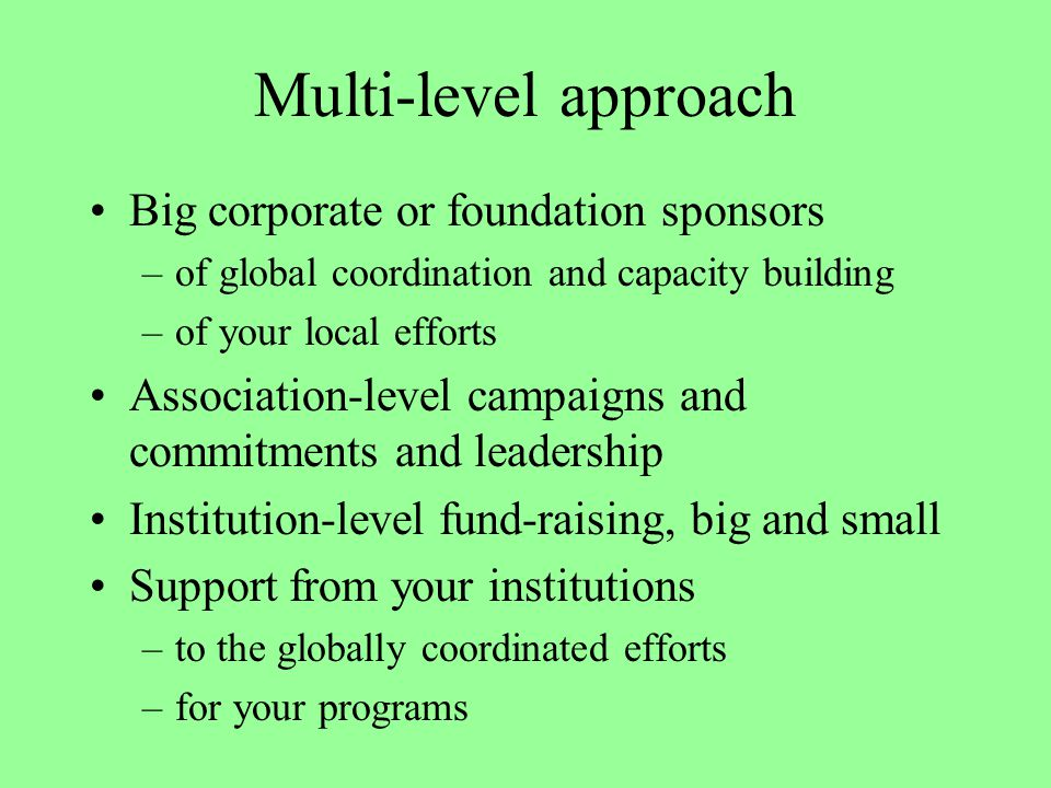 Multi-level approach Big corporate or foundation sponsors –of global coordination and capacity building –of your local efforts Association-level campa