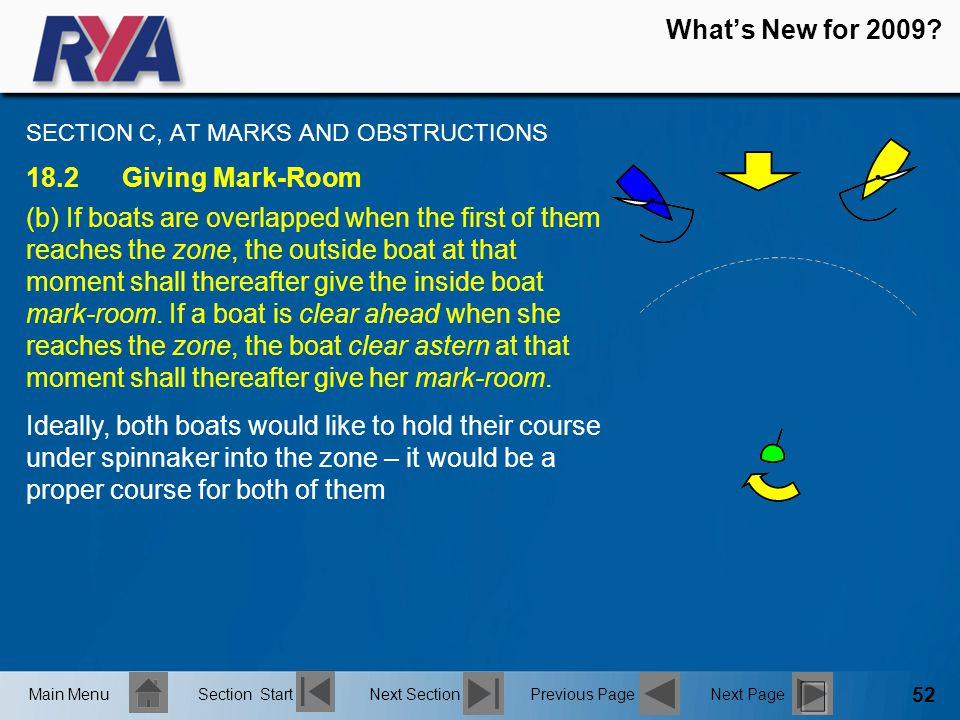 52 What's New for 2009? SECTION C, AT MARKS AND OBSTRUCTIONS 18.2Giving Mark-Room (b) If boats are overlapped when the first of them reaches the zone,