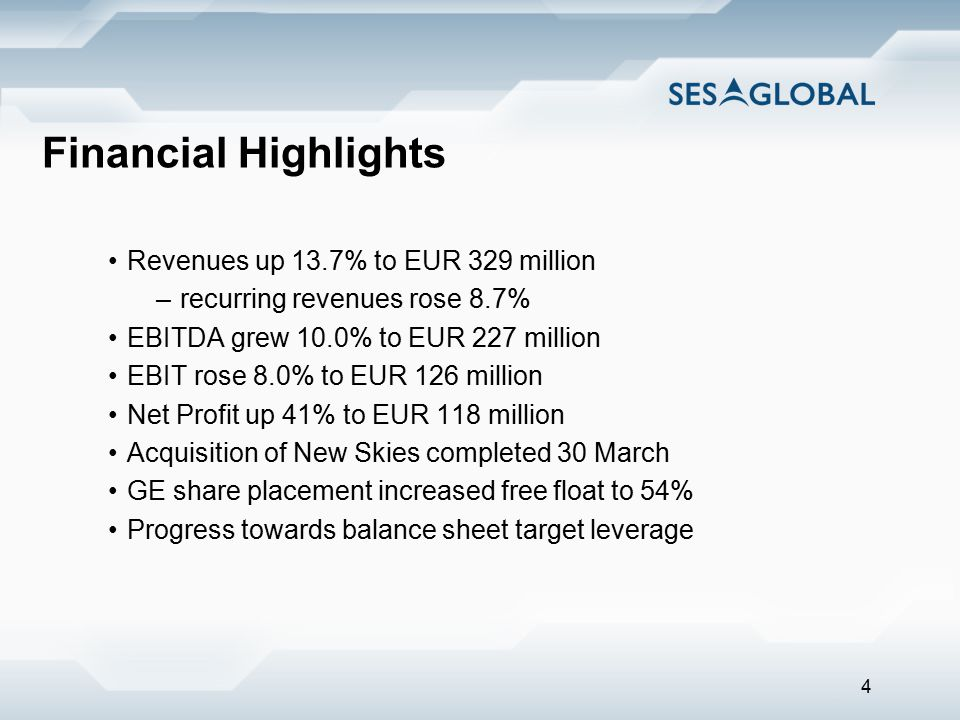 4 Financial Highlights Revenues up 13.7% to EUR 329 million –recurring revenues rose 8.7% EBITDA grew 10.0% to EUR 227 million EBIT rose 8.0% to EUR 1