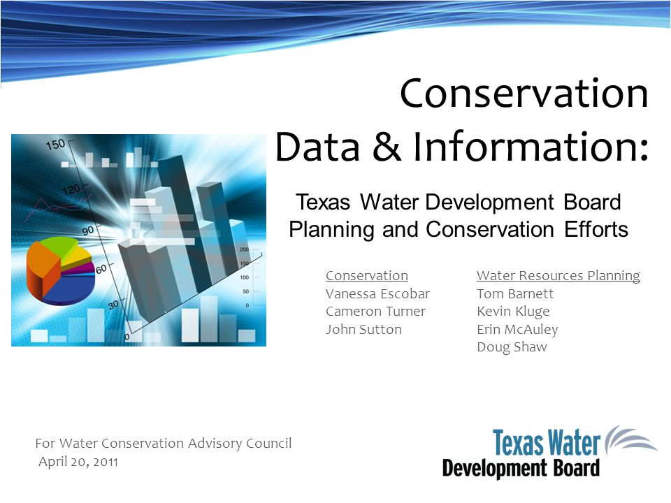Texas Water Development Board Planning and Conservation Efforts Conservation Vanessa Escobar Cameron Turner John Sutton Conservation Data & Information: Water Resources Planning Tom Barnett Kevin Kluge Erin McAuley Doug Shaw For Water Conservation Advisory Council April 20, 2011