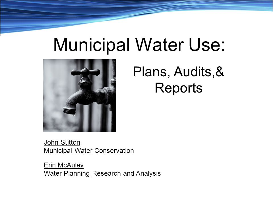 Plans, Audits,& Reports John Sutton Municipal Water Conservation Erin McAuley Water Planning Research and Analysis Municipal Water Use: