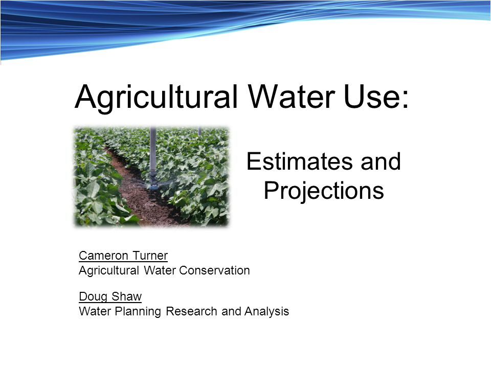 Estimates and Projections Cameron Turner Agricultural Water Conservation Doug Shaw Water Planning Research and Analysis Agricultural Water Use: