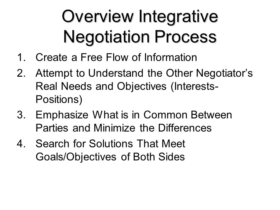 Overview Integrative Negotiation Process 1.Create a Free Flow of Information 2.Attempt to Understand the Other Negotiator's Real Needs and Objectives