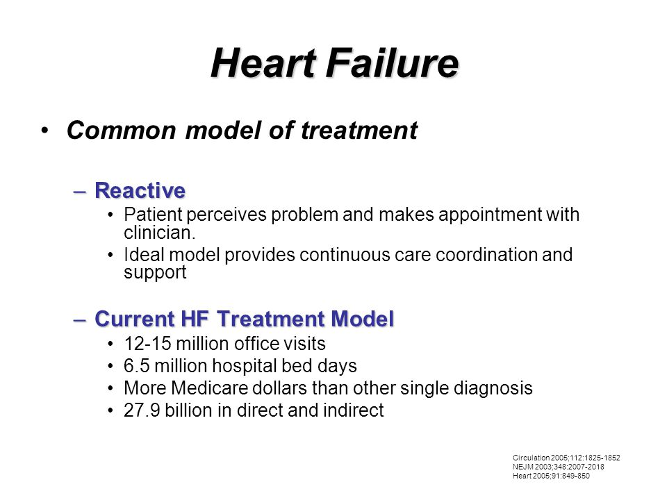 Heart Failure Common model of treatment –Reactive Patient perceives problem and makes appointment with clinician.