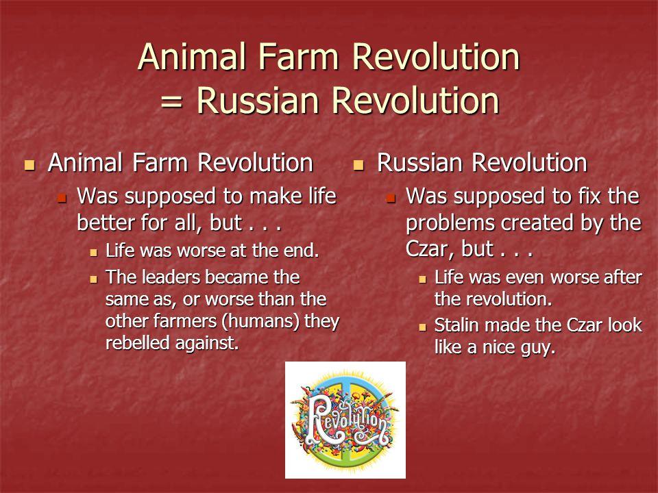 Animal Farm Revolution = Russian Revolution Animal Farm Revolution Animal Farm Revolution Was supposed to make life better for all, but...