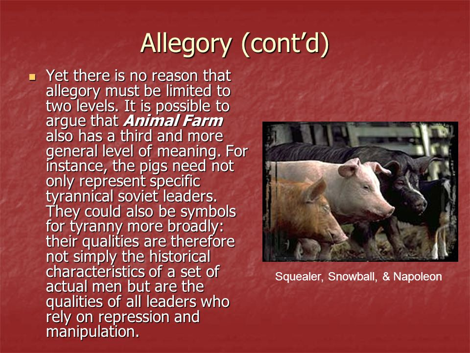 Allegory (cont'd) Yet there is no reason that allegory must be limited to two levels. It is possible to argue that Animal Farm also has a third and mo