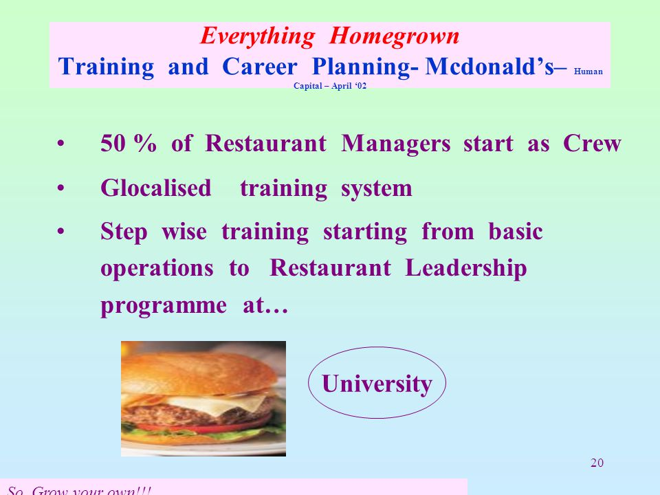 20 Everything Homegrown Training and Career Planning- Mcdonald's– Human Capital – April '02 50 % of Restaurant Managers start as Crew Glocalised training system Step wise training starting from basic operations to Restaurant Leadership programme at… University So Grow your own!!!
