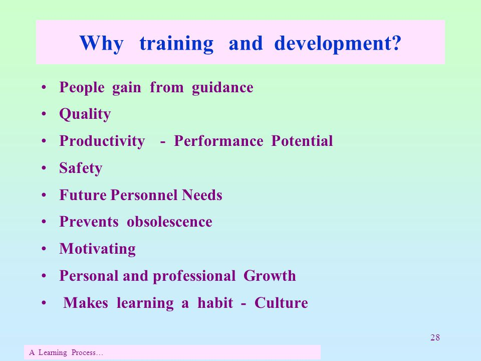 28 Why training and development? People gain from guidance Quality Productivity - Performance Potential Safety Future Personnel Needs Prevents obsoles
