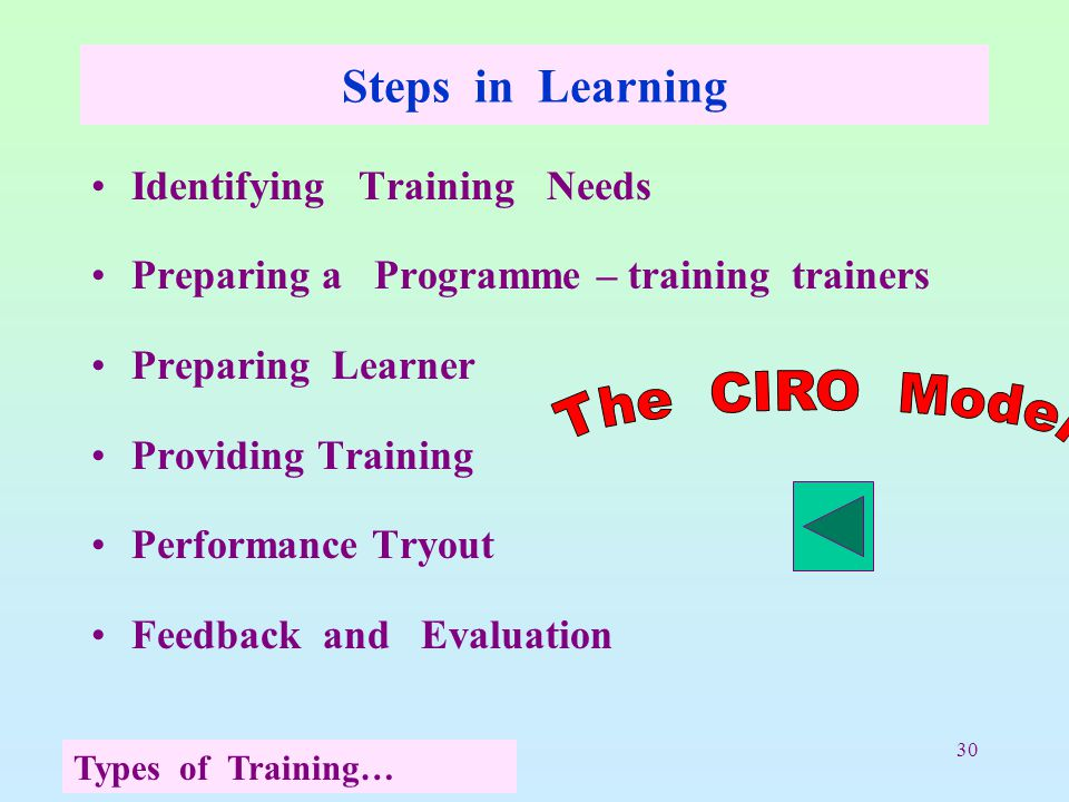 30 Steps in Learning Identifying Training Needs Preparing a Programme – training trainers Preparing Learner Providing Training Performance Tryout Feed