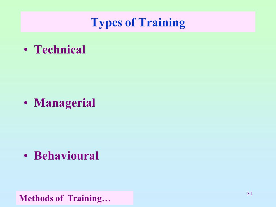 31 Types of Training Technical Managerial Behavioural Methods of Training…