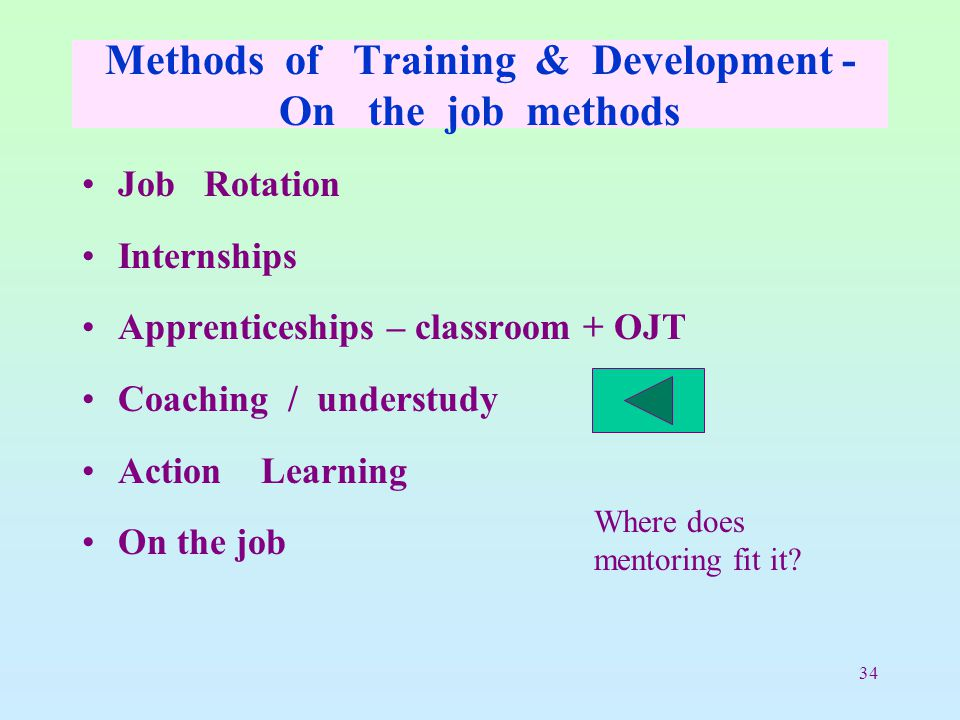 34 Methods of Training & Development - On the job methods Job Rotation Internships Apprenticeships – classroom + OJT Coaching / understudy Action Learning On the job Where does mentoring fit it?