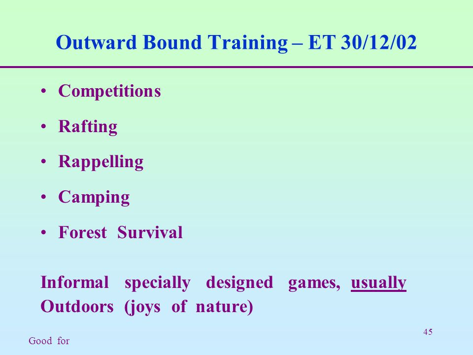 45 Outward Bound Training – ET 30/12/02 Competitions Rafting Rappelling Camping Forest Survival Informal specially designed games, usually Outdoors (joys of nature) Good for