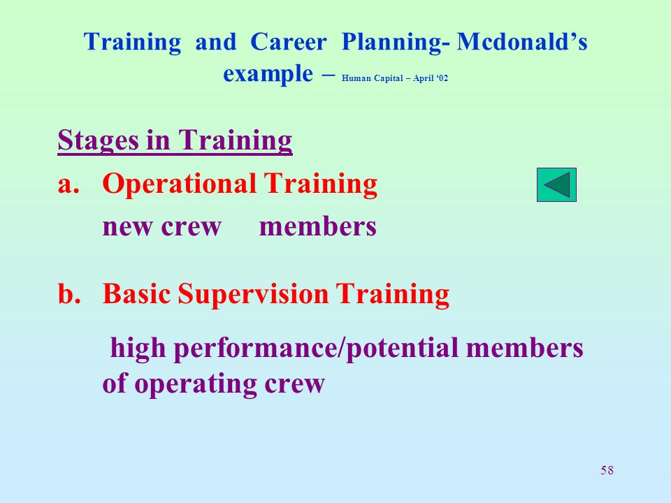 58 Training and Career Planning- Mcdonald's example – Human Capital – April '02 Stages in Training a.Operational Training new crew members b.Basic Sup