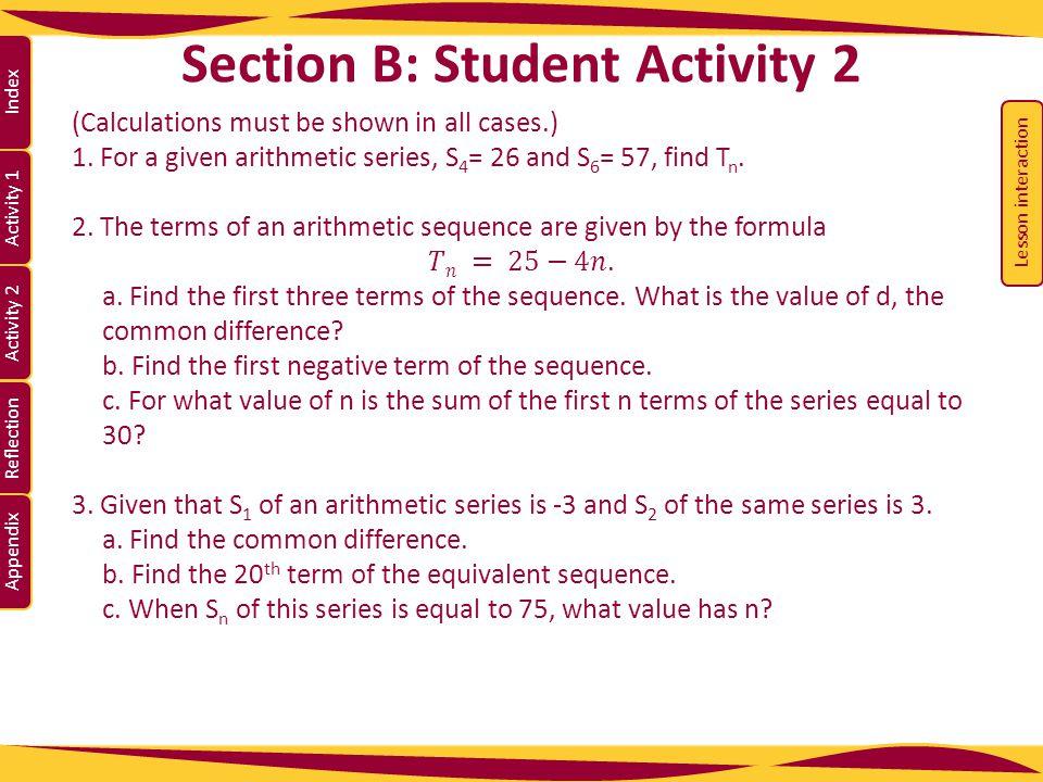 Activity 1 Activity 2 Index Reflection Appendix Section B: Student Activity 2