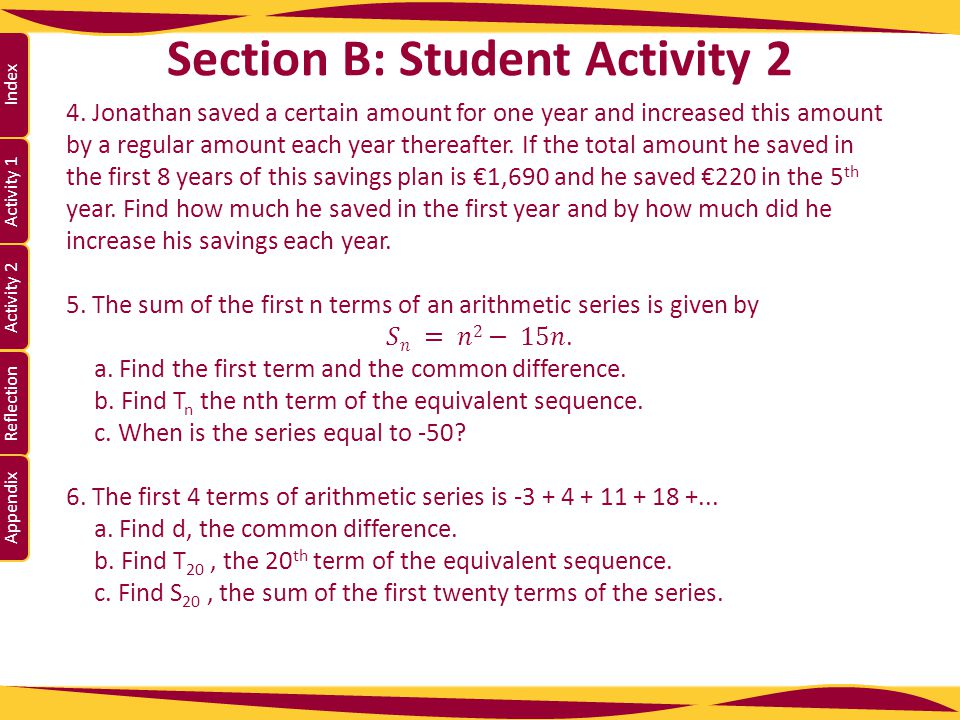 Activity 1 Activity 2 Index Reflection Appendix Section B: Student Activity 2