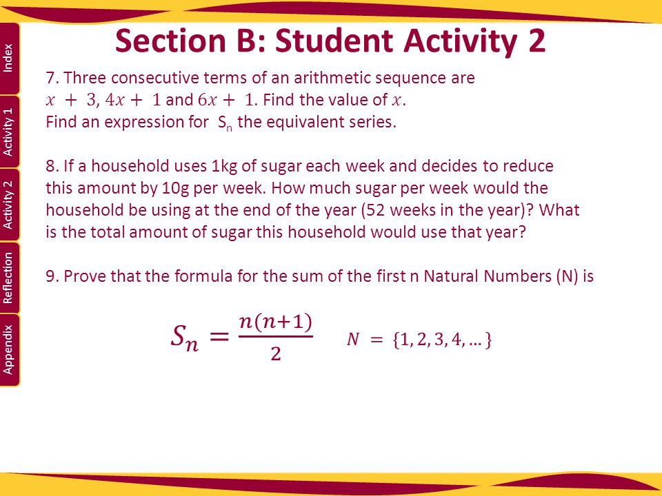 Activity 1 Activity 2 Index Reflection Appendix Section B: Student Activity 2 Lesson interaction