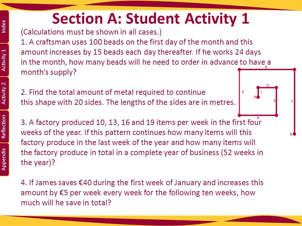 Activity 1 Activity 2 Index Reflection Appendix Section A: Student Activity 1 5.