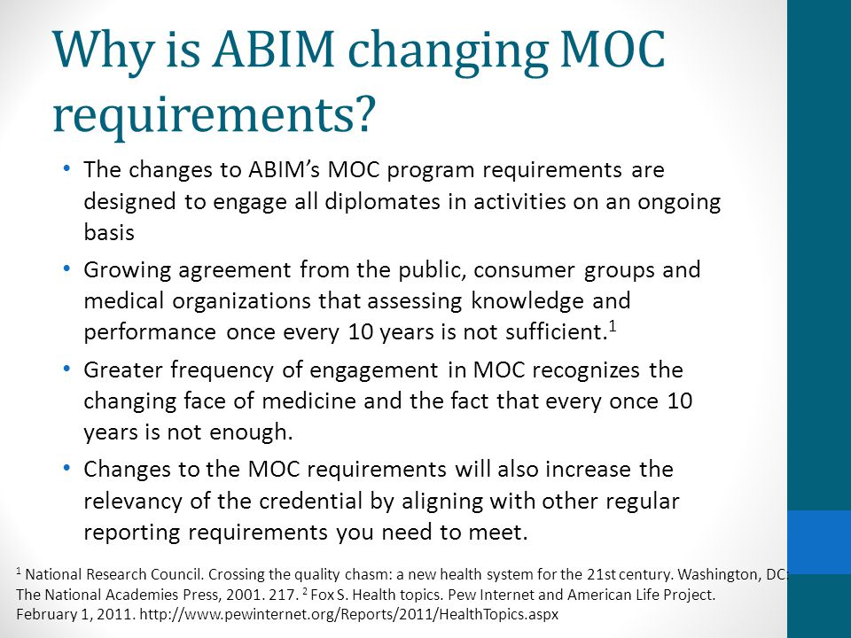 Why is ABIM changing MOC requirements.