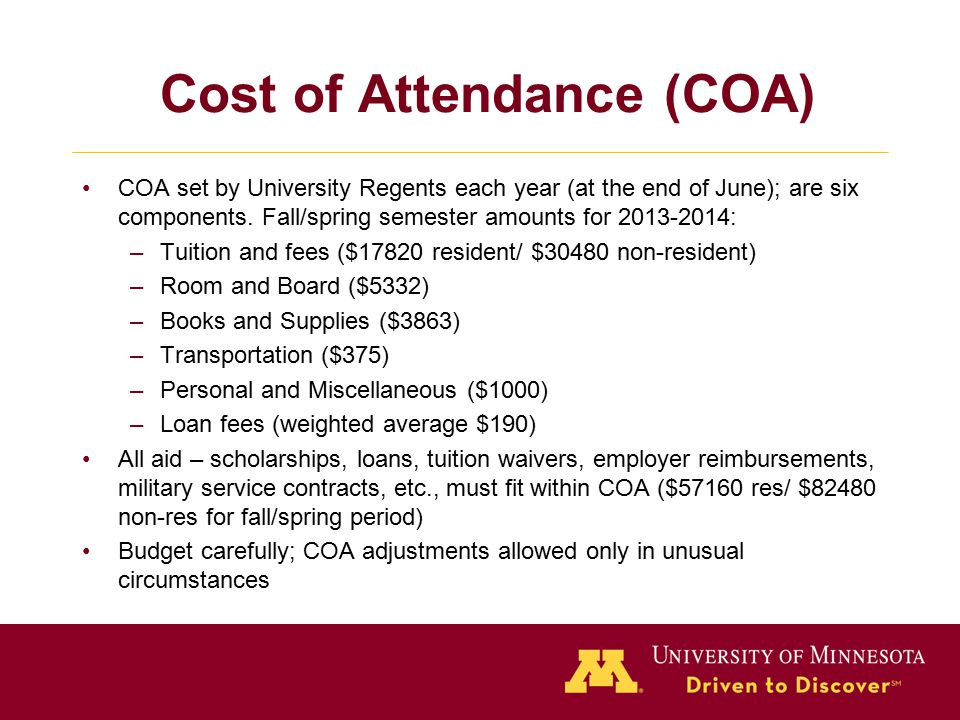 Cost of Attendance (COA) COA set by University Regents each year (at the end of June); are six components.