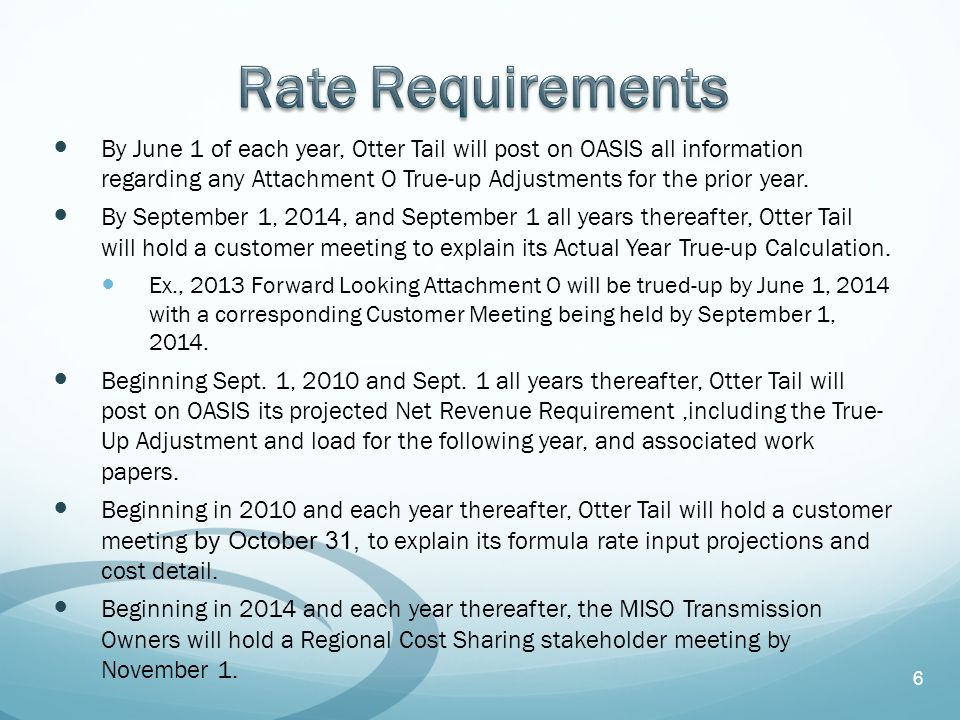 By June 1 of each year, Otter Tail will post on OASIS all information regarding any Attachment O True-up Adjustments for the prior year.