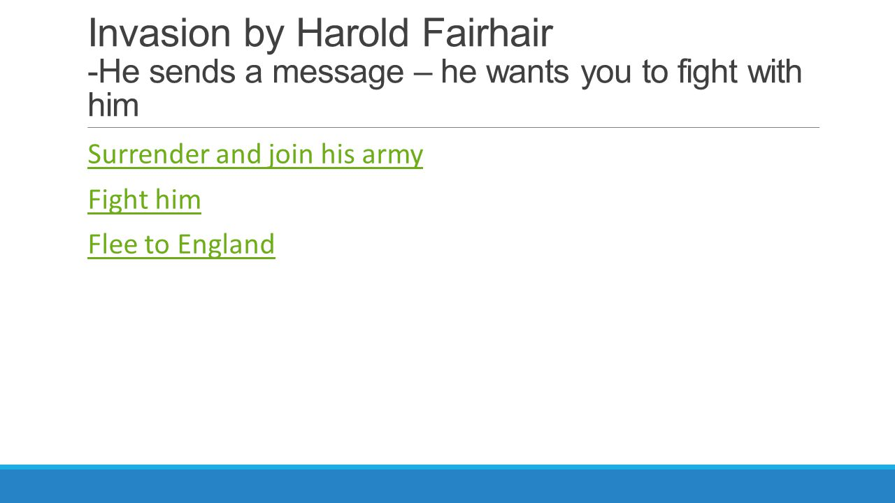 Invasion by Harold Fairhair -He sends a message – he wants you to fight with him Surrender and join his army Fight him Flee to England