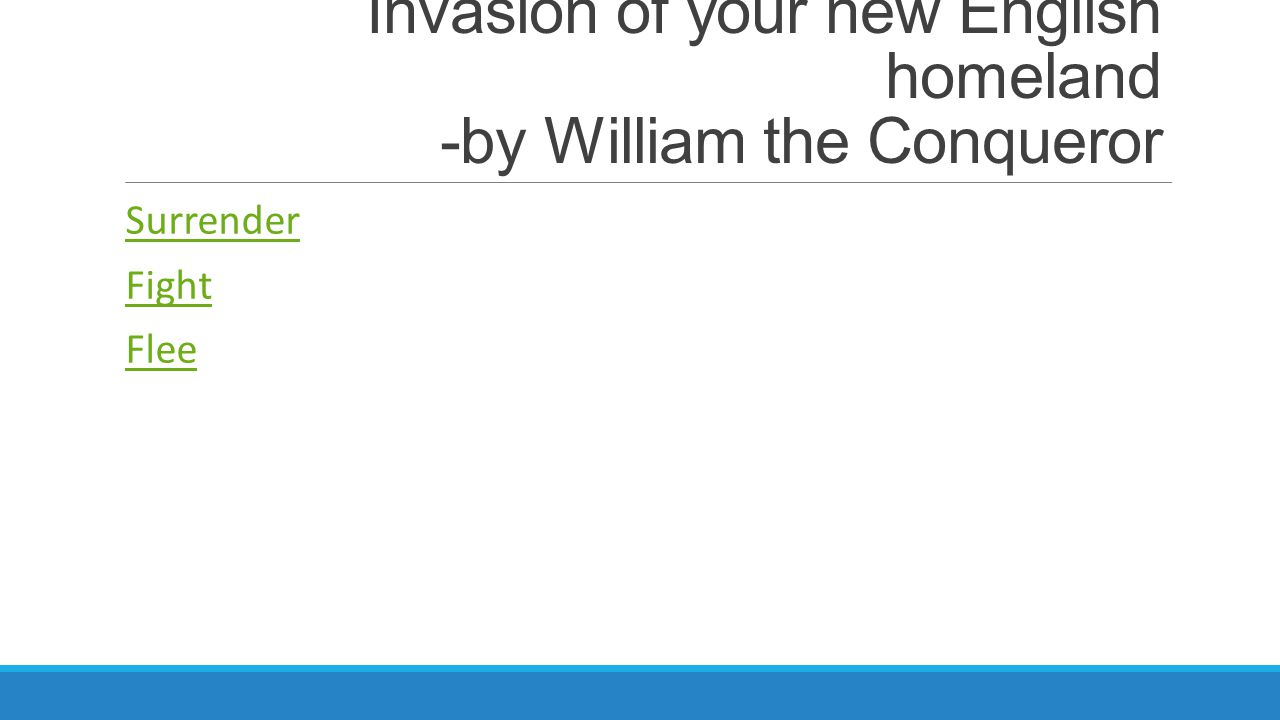 Invasion of your new English homeland -by William the Conqueror Surrender Fight Flee