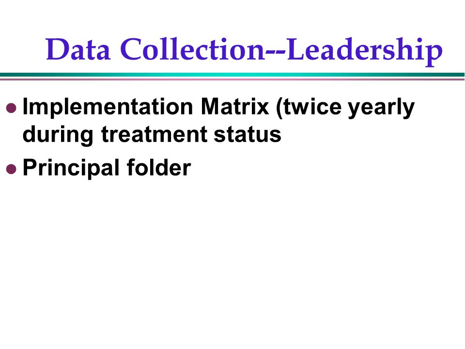 Gentry, 200211 Data Collection--Leadership Implementation Matrix (twice yearly during treatment status Principal folder