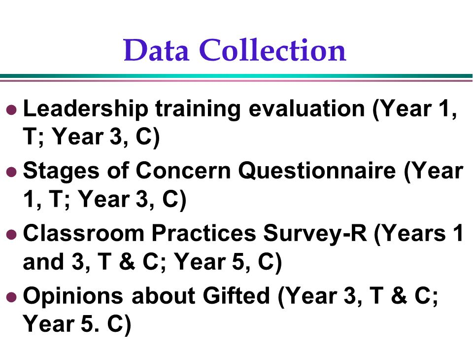 Gentry, 200210 Data Collection Leadership training evaluation (Year 1, T; Year 3, C) Stages of Concern Questionnaire (Year 1, T; Year 3, C) Classroom Practices Survey-R (Years 1 and 3, T & C; Year 5, C) Opinions about Gifted (Year 3, T & C; Year 5.