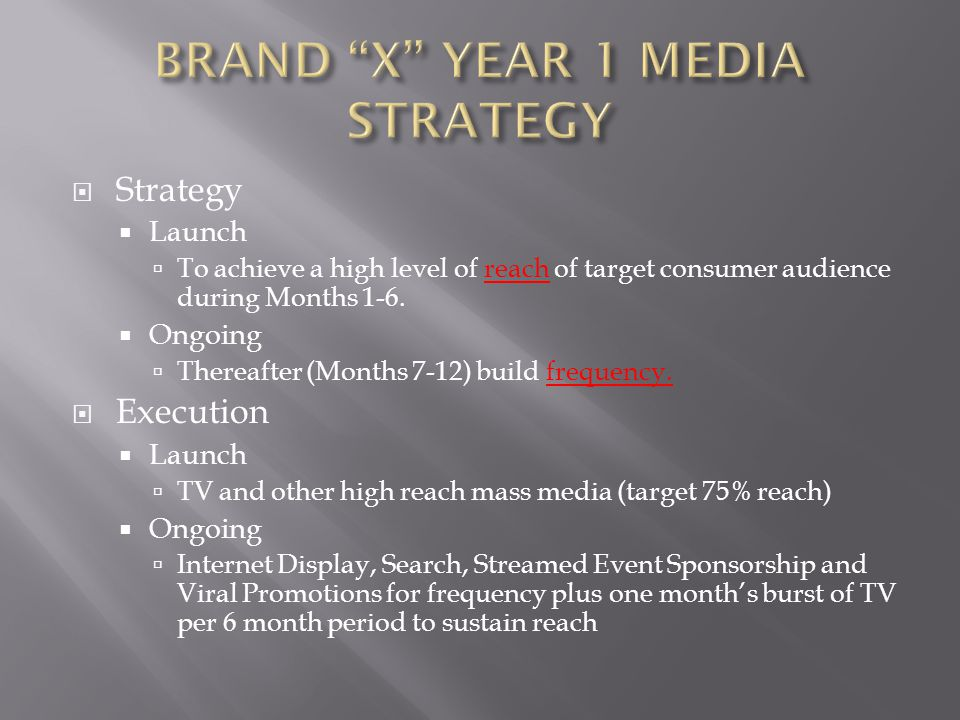  Strategy  Launch  To achieve a high level of trial (and awareness of advertising message) of target consumer audience during Months 1-6.