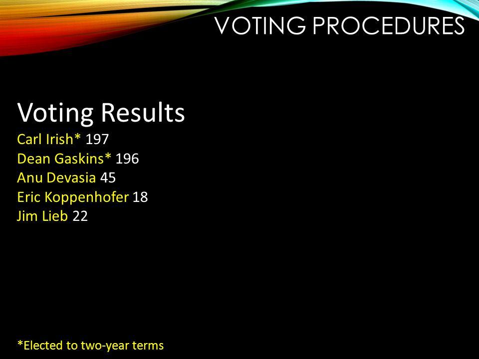 VOTING PROCEDURES Voting Results Carl Irish* 197 Dean Gaskins* 196 Anu Devasia 45 Eric Koppenhofer 18 Jim Lieb 22 *Elected to two-year terms
