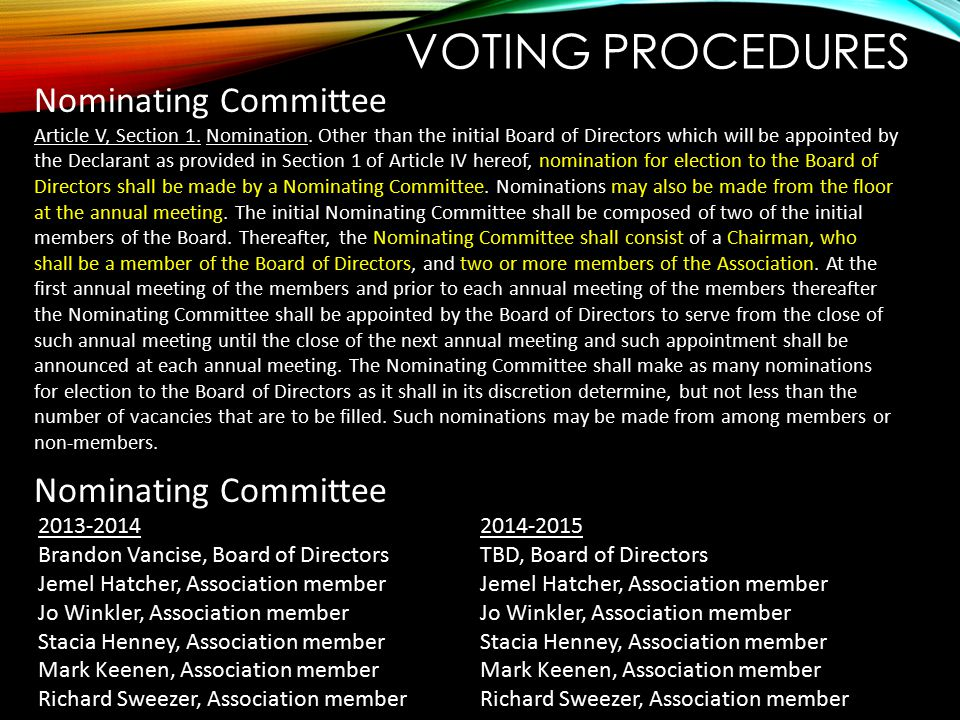 VOTING PROCEDURES Nominating Committee Article V, Section 1. Nomination. Other than the initial Board of Directors which will be appointed by the Decl