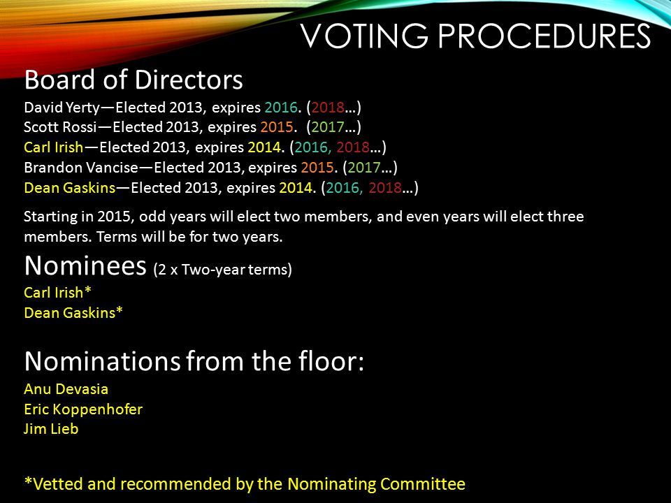 VOTING PROCEDURES Board of Directors David Yerty—Elected 2013, expires 2016. (2018…) Scott Rossi—Elected 2013, expires 2015. (2017…) Carl Irish—Electe